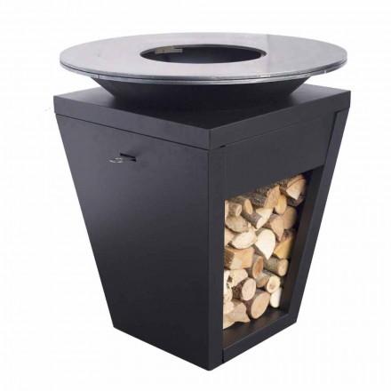 Dřevo hořící gril s varnou deskou a držák na dřevo - Ferran