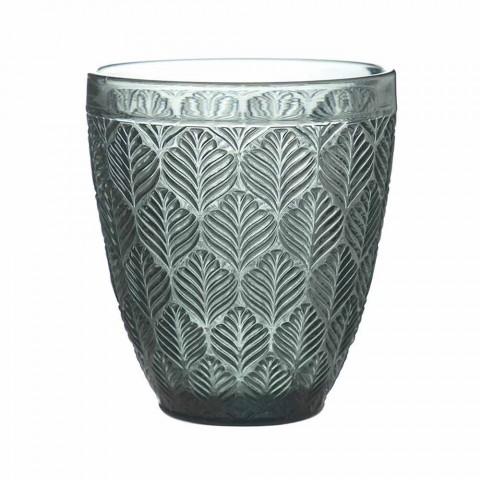 Barevné sklenice na vodu s listovou dekorací, 12 kusů - Indonésie