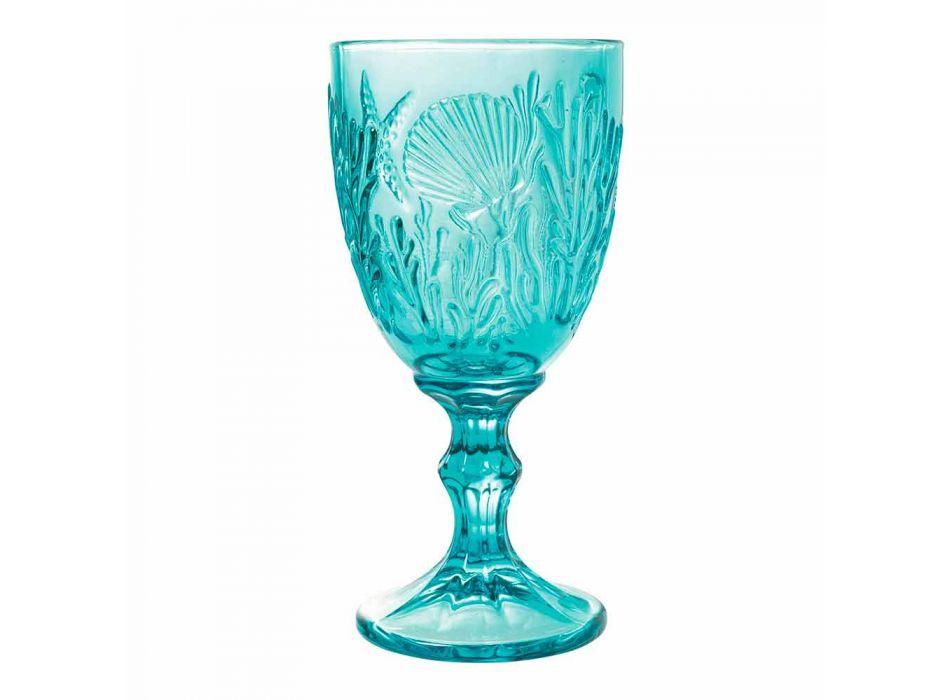 Sklenice Víno nebo voda Barevné sklo Marine Decor 12 kusů - Mazara