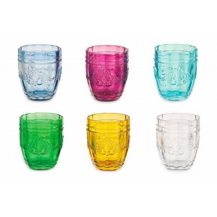 Barevné a elegantní brýle ve skle Služba 12 kusů pro vodu - šroub