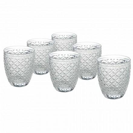 Transparentní sklenice na vodu s vyřezávanými dekoracemi 12 kusů - Rocca