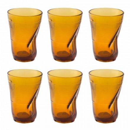 Barevné skleněné koktejlové sklenice 12 kusů zmačkaného designu - Sarabi
