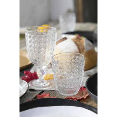 Servírovací sklenice 12 kusů v průhledném skle pro vodu - optické