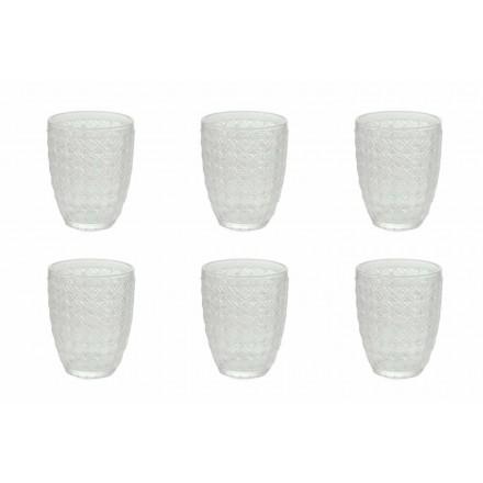 12 kusů obsluhujících sklenic v průhledném skle pro vodu - optické