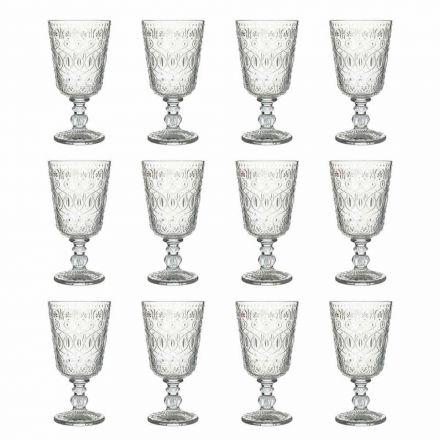 Sklenice na víno v průhledném zdobeném skle 12 designových pohárů - marokobické