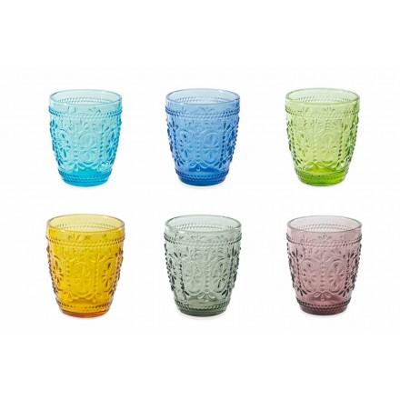 Zdobené a barevné sklenice vody sada 12 kusů - Pastel-Palazzo