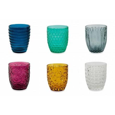 Moderní barevné skleničky zdobené sklenicemi podávající vodu 12 kusů - mix