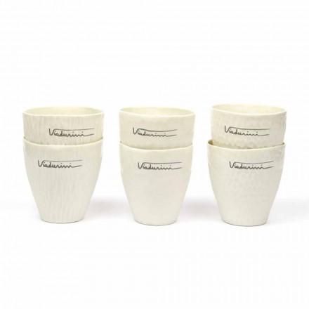 Luxusní designové bílé porcelánové sklenice 6 jedinečných kusů - Arcireale