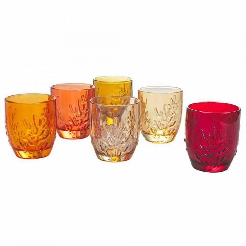 Barevné sklenice na vodu s korálovou dekorací, 12 kusů - karmínová