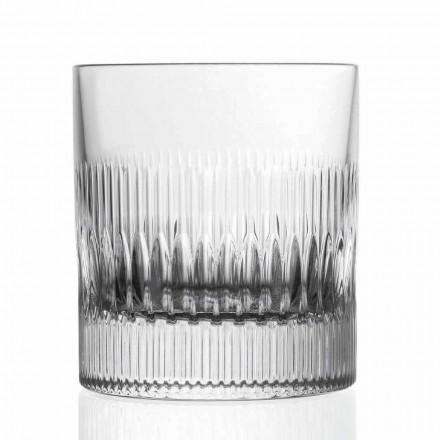 Křišťálová whisky a sklenice na vodu 12 dílná v retro stylu - hmatová