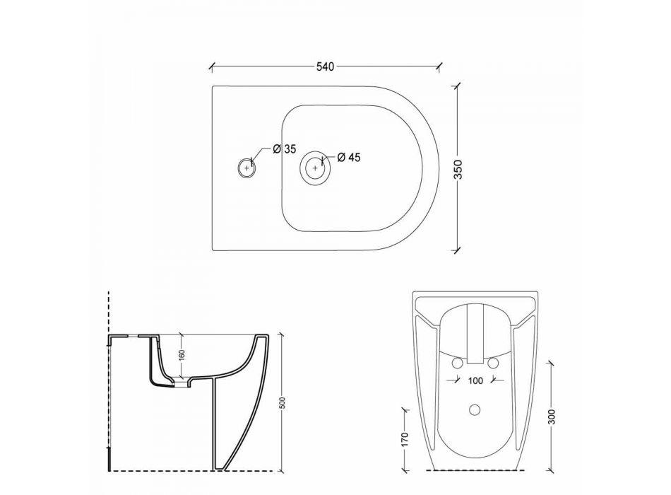 Bidet v moderní design keramiky bot Square Otevřít vrtaných H50 cm
