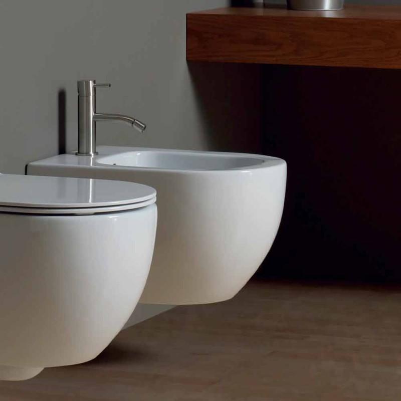 Bidet moderní zavěšení bílé keramické hvězda 50x35cm Made in Italy