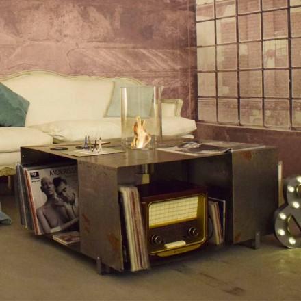 Podlahový biokrb a konferenční stolek v moderním designu z oceli - Christopher