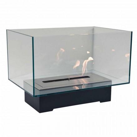Moderní designový podlahový biokrb ze skla a oceli nebo Corten - Bradley