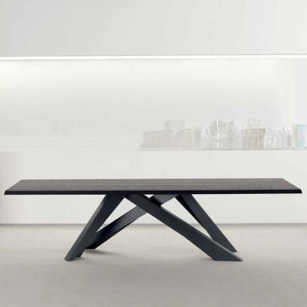 Bonaldo Big Table z masivního antracitového šedého dřeva vyrobeného v Itálii