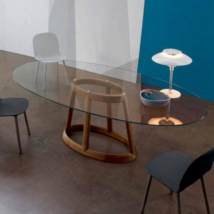 Olivový stůl Bonaldo Greeny z křišťálu a dřeva vyrobený v Itálii