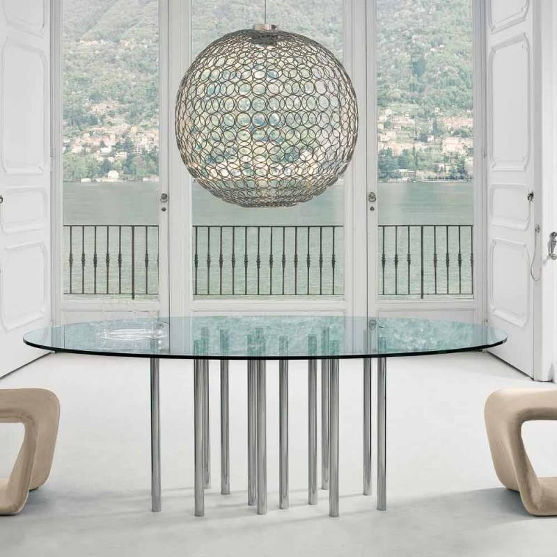 Bonaldo Mille kulatý stůl z křišťálové a chromované oceli vyrobené v Itálii