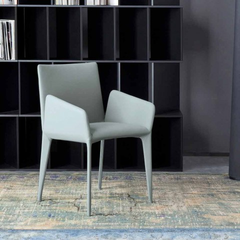 Bonaldo Miss Fly čalouněná kožená židle s područkami vyrobenými v Itálii