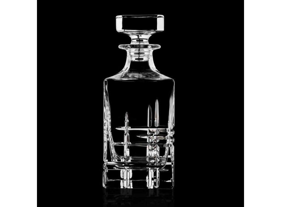Láhev a sklenice na luxusní whisky v ekologickém křišťálu 6 kusů - arytmie