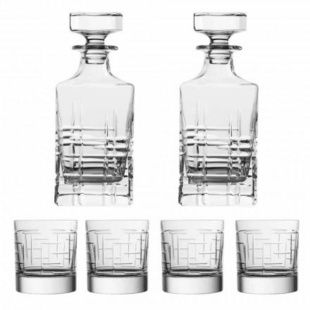 6dílná luxusní ekologická lahvička a sklenice na whisky - arytmie