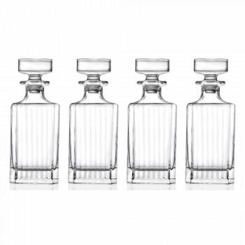 4dílné lahve na whisky se čtvercovým designem Eco Crystal - Senzatempo