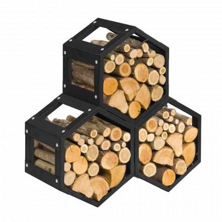 Modulární držák na dřevo pro vnitřní moderní design z černé oceli - šestihran