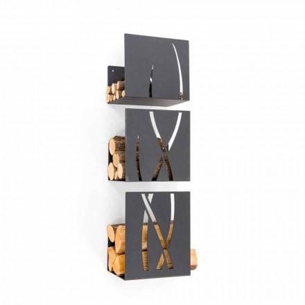 CAF design Trio Držák dříví ocelovou stěnou vyrobené v Itálii