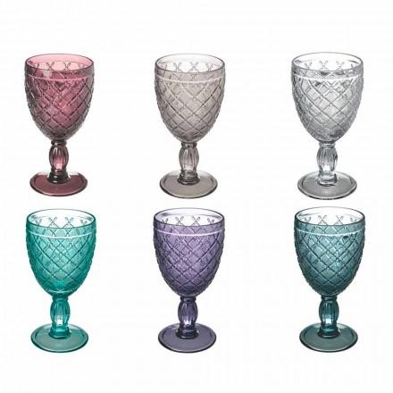 Pohár na víno nebo vodu v barevném nebo průhledném skle s dekoracemi, 12 kusů - Rocca