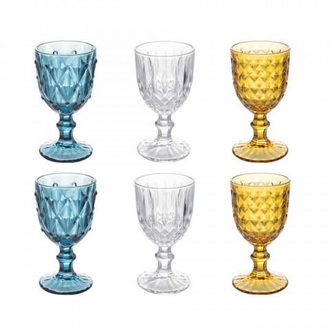 Barevné skleněné poháry v reliéfním skle, 12 kusů - Angers