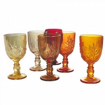 Barevné poháry ve skleněné a korálové výzdobě, 12 kusů - karmínová