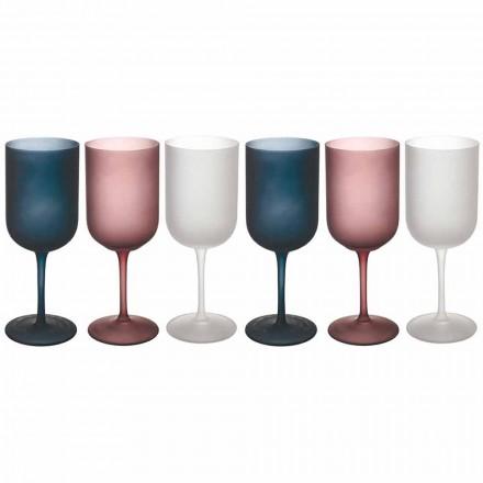 Sklenice na víno z barevného štěrku s matným sklem, 12 kusů - podzim