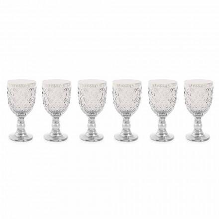 Průhledné sklenice na víno s arabeskou dekorací 12 kusů - Maroko