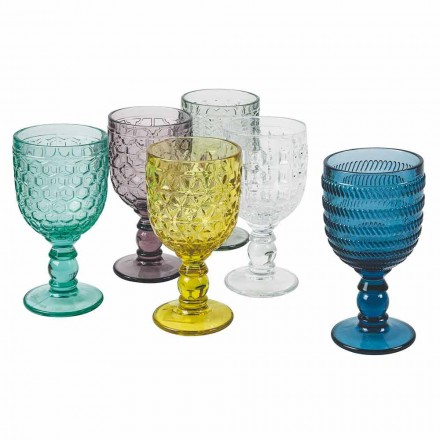 Skleněné poháry zdobené barevným sklem Služba na vodu nebo víno 12 kusů - mix
