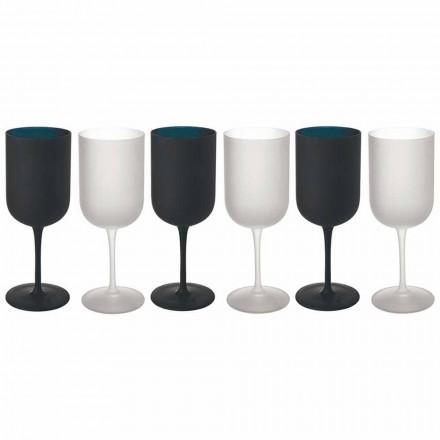 Poháry v matném skle, bílé a černé víno, servis 12 kusů - Norvegiomasai