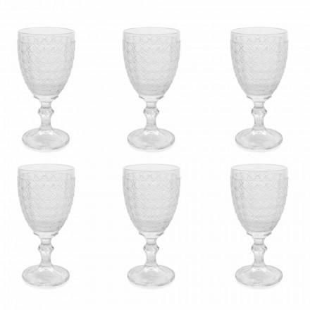 Sklenice na víno v průhledném skle a reliéfní dekorace, 12 kusů - Aperi