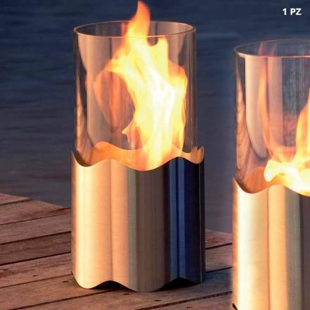 Ohniště Bioetanol z nerezové oceli a skla stůl Leon