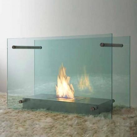 Krb na podlahu z bioethanolu v designu skla a oceli pro interiér - Edison