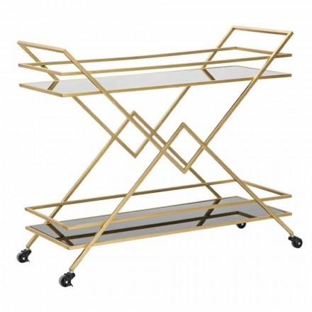 Designový obdélníkový vozík na potraviny ze železa, MDF a zrcadla - Corinne
