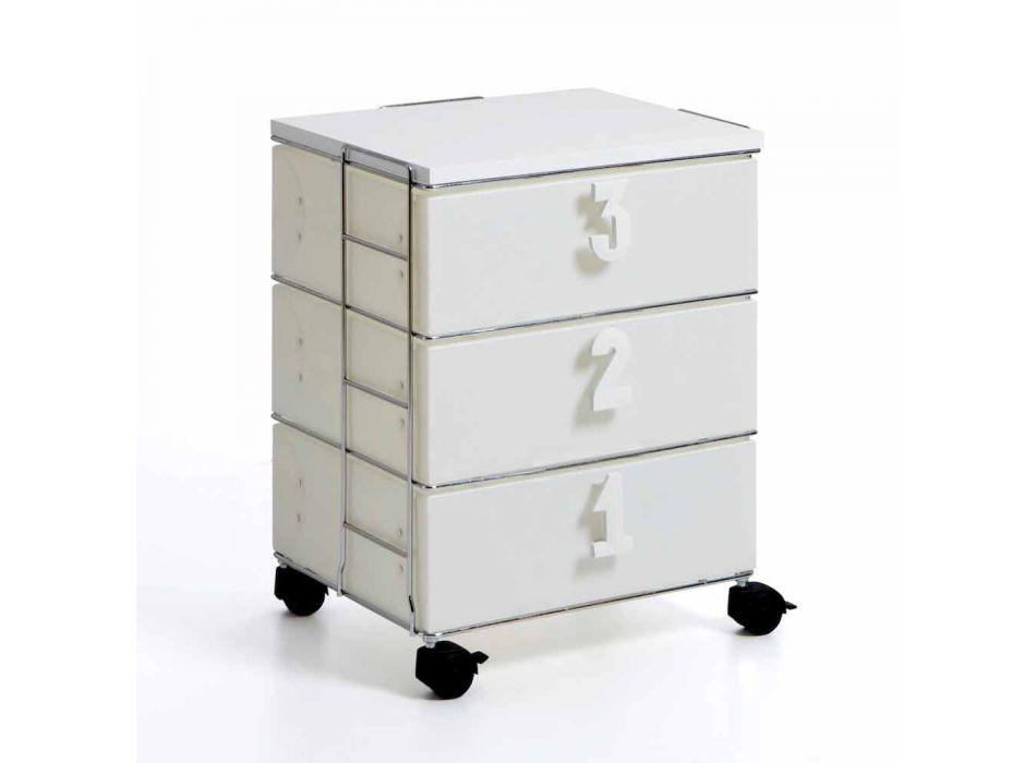 3 zásuvky s bílými rukojetí a koly číselné Yodi