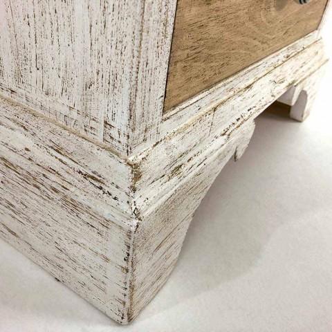 Artisan komoda se 4 zásuvkami v bílém dřevě Made in Italy - Manhattan