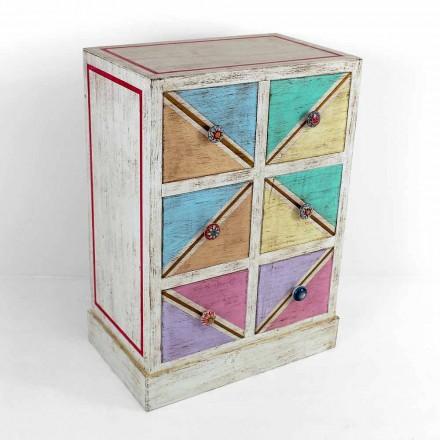 Ručně vyrobená dřevěná komoda s barevnými zásuvkami vyrobenými v Itálii - Brighella