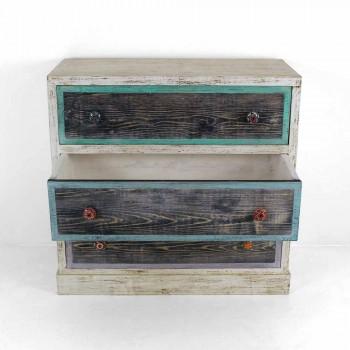 Artisan komoda ze dřeva jedle se 3 zásuvkami vyrobenými v Itálii - opice