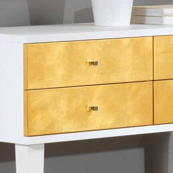 Bílá Komoda se 4 zásuvkami Etty plátkovým zlatem, made in Italy