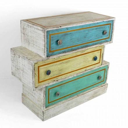 Komoda s barevnými zásuvkami a keramickými knoflíky vyrobená v Itálii - Hendriks