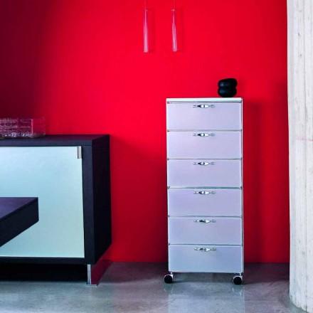 Design Komoda 6 zásuvkami v bílé / šedé polypropylenu Adam