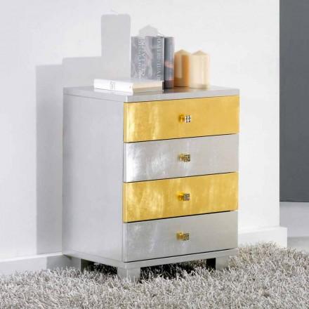Zásuvka konstrukce stříbro a zlato v Etty dřeva, made in Italy