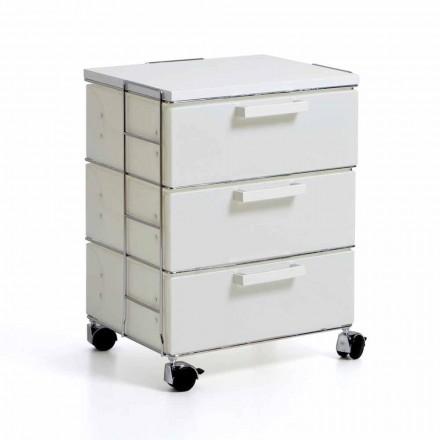Moderní bílá Komoda se 3 zásuvkami a horní MDF Valerie