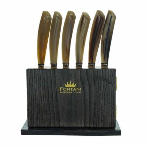 Blok magnetů 12 v olivovém a kaštanovém dřevě vyrobený v Itálii - blok