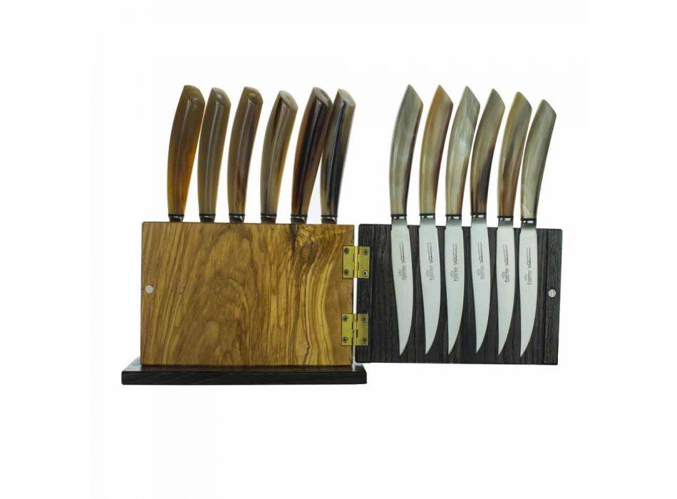 Blok magnetů v olivovém a kaštanovém dřevě 12 vyrobených v Itálii - blok
