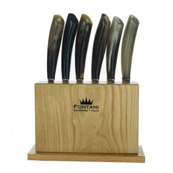 Blok v olivovém dřevě se 6 steakovými noži italské výroby - Blok